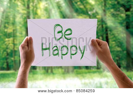 Be Happy card with nature background