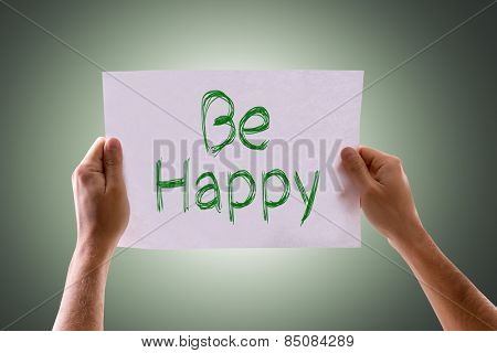 Be Happy card with green background