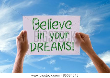 Believe in your Dreams card with sky background