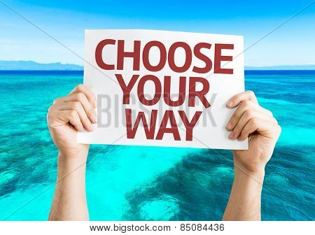 Choose Your Way card with beach background