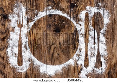 Cutlery Old Wooden Table Sprinkled With Flour.