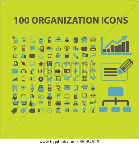 100 organization, management, business, human resources isolated icons, signs, illustrations design concept set for web, internet, application, vector