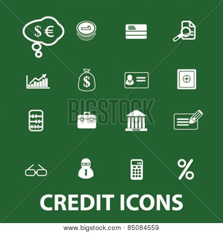 credit, bank, finance isolated icons, signs, illustrations design concept set for web, internet, application, vector