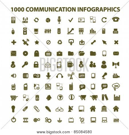 100 communication infographics isolated icons, signs, illustrations design concept set for web, internet, application, vector