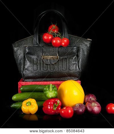 Modern fashion woman bag with vegetables