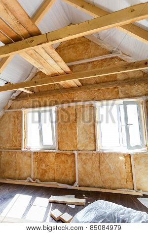 Inside Wall Heat Isolation With Mineral Wool In Wooden House