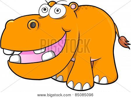 Crazy hippopotamus Vector Illustration Art