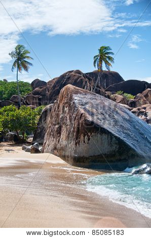 Plenty of Granite Boulders and Tall Beach Trees at The Baths of Virgin Gorda among the British Virgin Islands in the Caribbean.