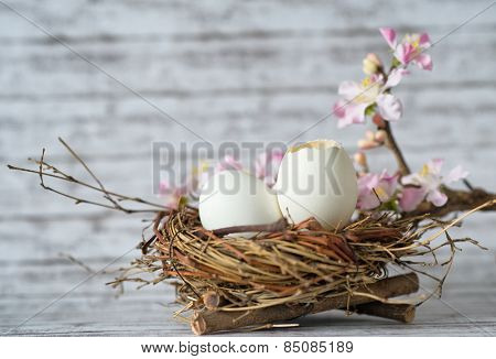 Close up Whole and Open White Chicken Eggs in a Nest with Little Fresh Flowers on Top of a Table with Fuzzy Background.