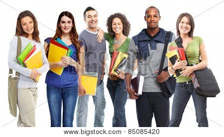 Young smiling students portrait isolated on white background.