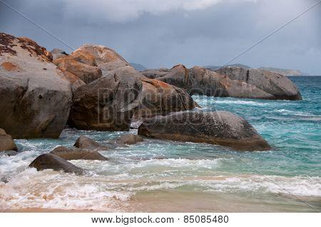 Huge Granite Rocks at Relaxing Turquoise Sea Water of Virgin Gorda Island