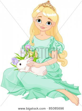 Illustration of beautiful princess holds cute rabbit