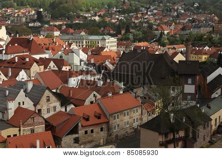 Tiled roofs in Cesky Krumlov, South Bohemia, Czech Republic.