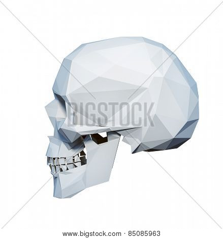 low-poly style  white skull  on white background