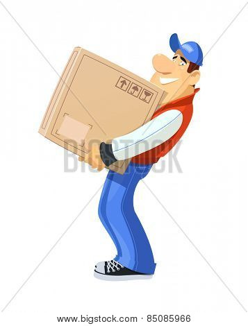 Loader with box. Loader with box. Delivery service. Eps10 vector illustration. Isolated on white background