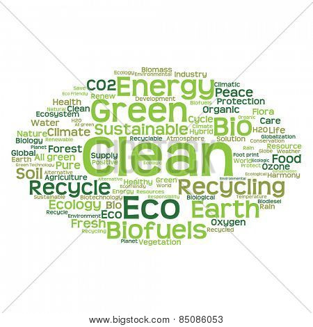 Concept or conceptual abstract green ecology and conservation word cloud text on white background, metaphor to environment, recycle, earth, alternative, protection, energy, eco friendly or bio