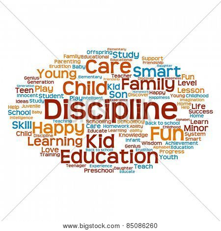 Conceptual blue and orange education abstract word cloud, white background, metaphor to child, family, school, life, learn, knowledge, home, study, teach, educational, achievement, childhood or teen