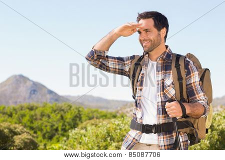 Happy man hiking in the mountains on a sunny day