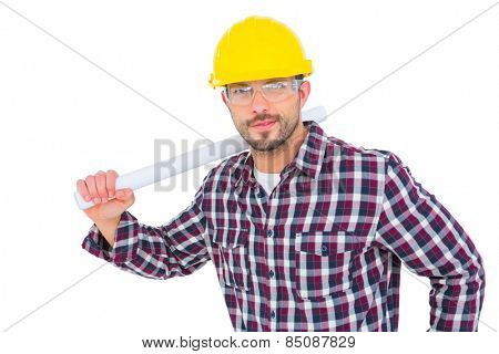 Handyman holding rolled up blueprint on white background