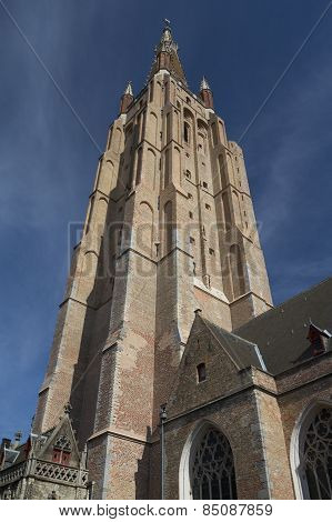 Tower Of  The Holy Savior Cathedral In Bruges (belgium)