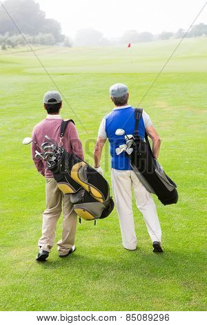 Golfer friends walking and chatting at the golf course