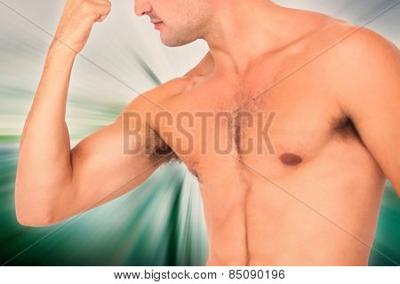 Fit shirtless man flexing his bicep against abstract background