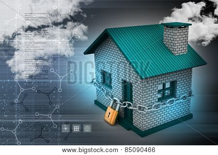 House in with padlock security concept