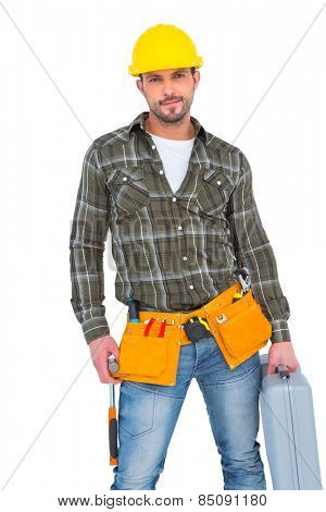 Repairman with hammer and toolbox on white background