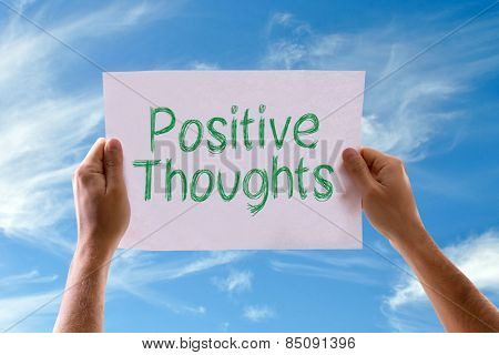 Positive Thoughts card with sky background