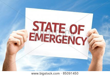 State of Emergency card with sky background