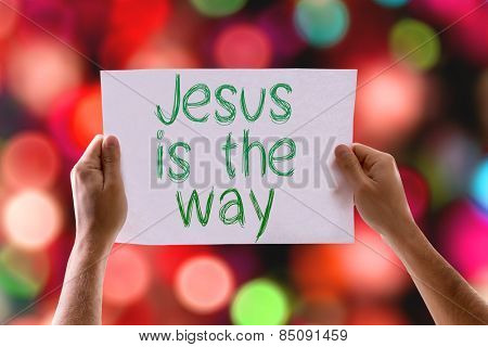 Jesus is the Way card with colorful background with defocused lights