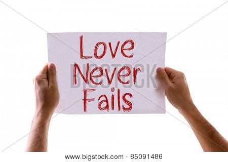 Love Never Fails card isolated on white