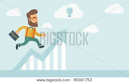 The businessmen with beard is running over growing chart. Perspective Idea concept. Vector flat design Illustration. Horizontal layout with a text space in a right.