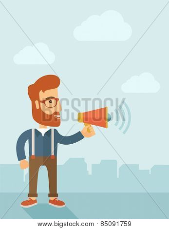 The businessman with a beard shouting in megaphone. Social media marketing concept.  Vector flat design illustration. Vertical layout with a text space in a top.