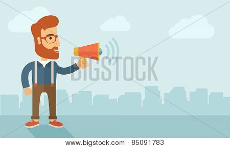 The businessman with a beard shouting in megaphone. Social media marketing concept.  Vector flat design illustration. Horizontal layout with a text space in a right.