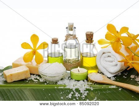 health spa with sali, candle, orchid,oil,soap and banana leaf