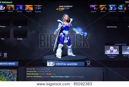 Depew, OK, USA - March 5, 2015: Crystal Maiden on Dota 2, a 2013 multiplayer online battle arena video game and sequel to the Defense of the Ancients developed by Valve Corporation.