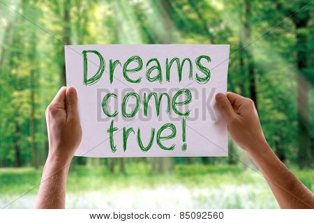 Dreams Come True card with nature background