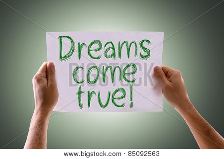 Dreams Come True card with green background