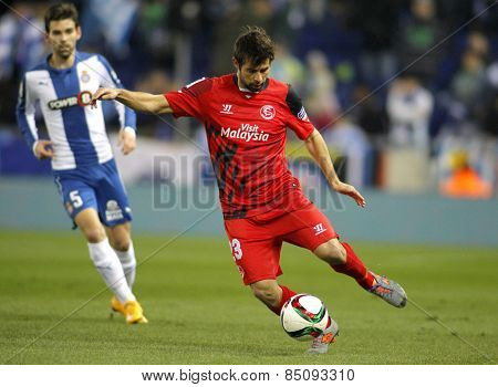 BARCELONA - JAN, 22: Coke Andujar of Sevilla FC during spanish League match against RCD Espanyol at the Estadi Cornella on January 22, 2015 in Barcelona, Spain