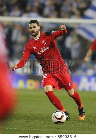 BARCELONA - JAN, 22: Vicente Iborra of Sevilla FC during spanish League match against RCD Espanyol at the Estadi Cornella on January 22, 2015 in Barcelona, Spain