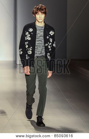 NEW YORK - FEBRUARY 13: A model walks the runway at the Orley Fall/Winter 2015 collection during Mercedes-Benz Fashion Week in New York on February 13, 2015.