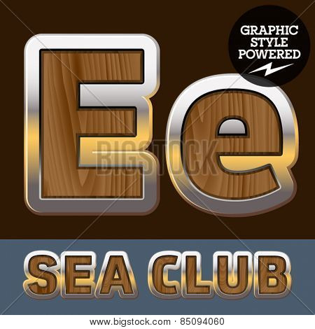 Vector set of elite old styled font in sea club theme. Letter E