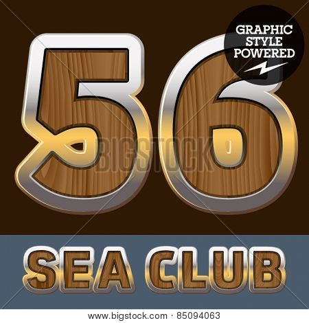 Vector set of elite old styled font in sea club theme. Numbers 5 6