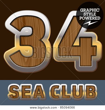 Vector set of elite old styled font in sea club theme. Numbers 3 4