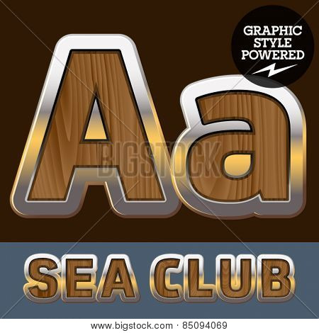 Vector set of elite old styled font in sea club theme. Letter A