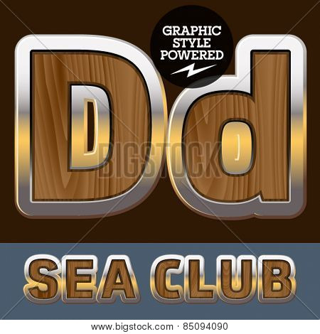 Vector set of elite old styled font in sea club theme. Letter D