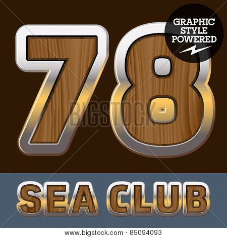 Vector set of elite old styled font in sea club theme. Numbers 7 8
