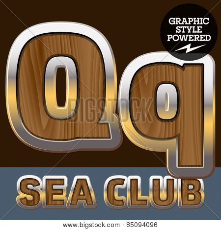 Vector set of elite old styled font in sea club theme. Letter Q