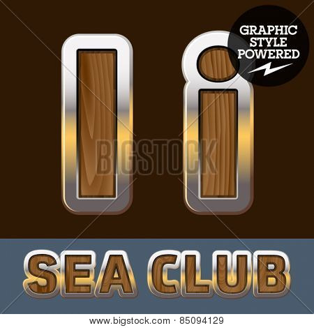 Vector set of elite old styled font in sea club theme. Letter I